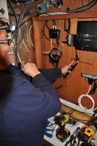Gloria installing wires